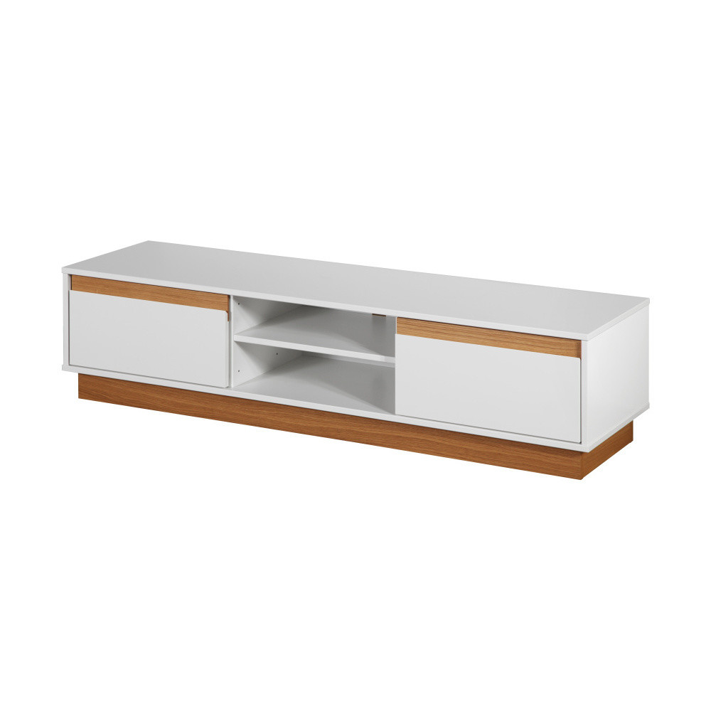 Biela TV komoda s podstavcom a drevenými detailmi Dřevotvar Ontur 01