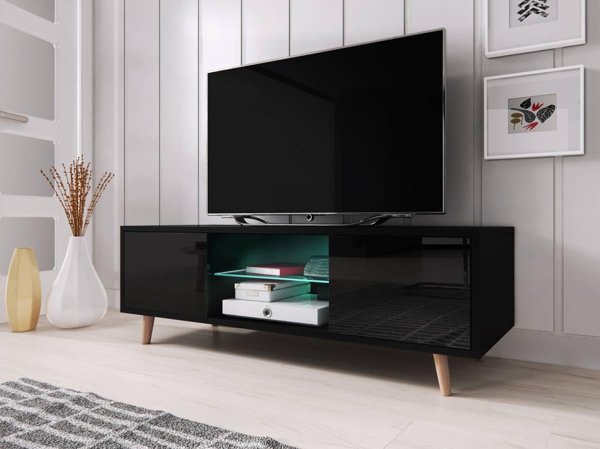 TV stolík/skrinka Sweden 1 (čierny lesk + čierna matná)