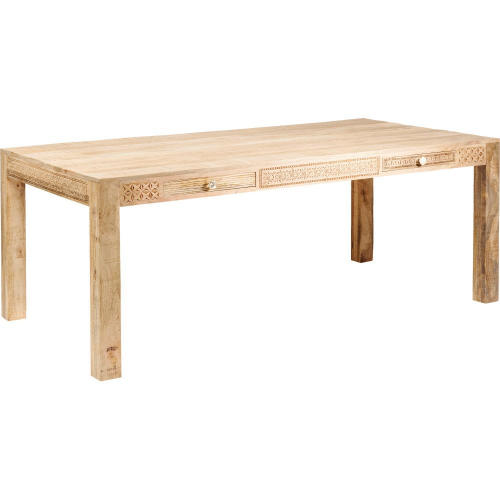 Jedálenský stôl s 2 zásuvkami a ručne vyrezávanými detailmi Kare Design Plain, dĺžka 200 cm