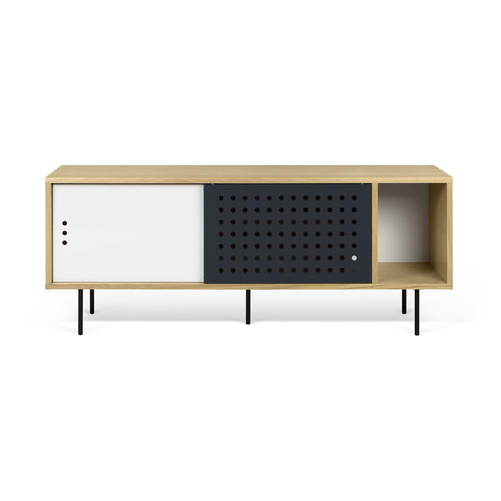 TV komoda v dekore dubového dreva s čierno-bielymi detailmi TemaHome Dann Dots, dĺžka 165 cm