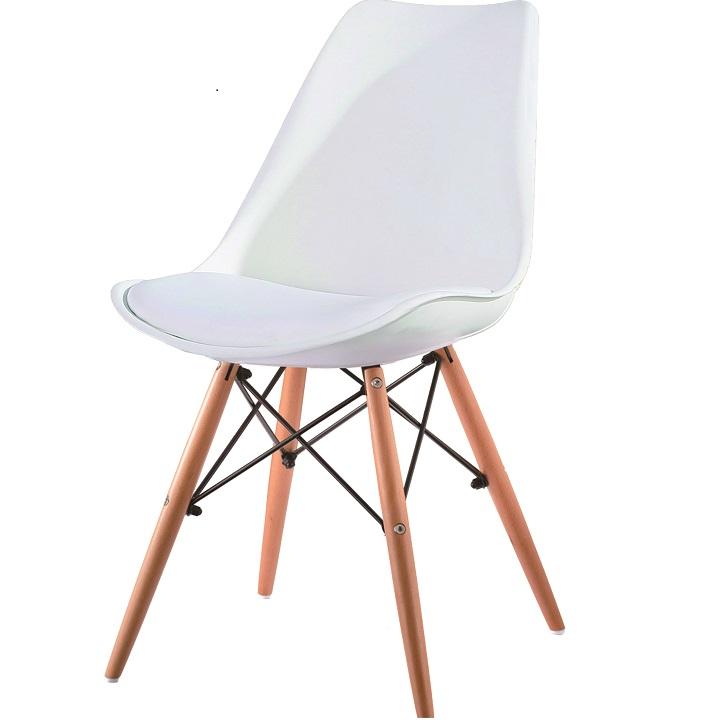 Jedálenská stolička Kemal (biela + buk)