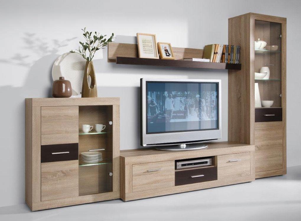 Moderná obývacia stena MESSI, sonoma/wenge