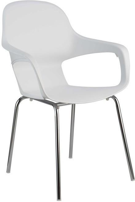 Stolička, chróm + plast, biela, DORIEN