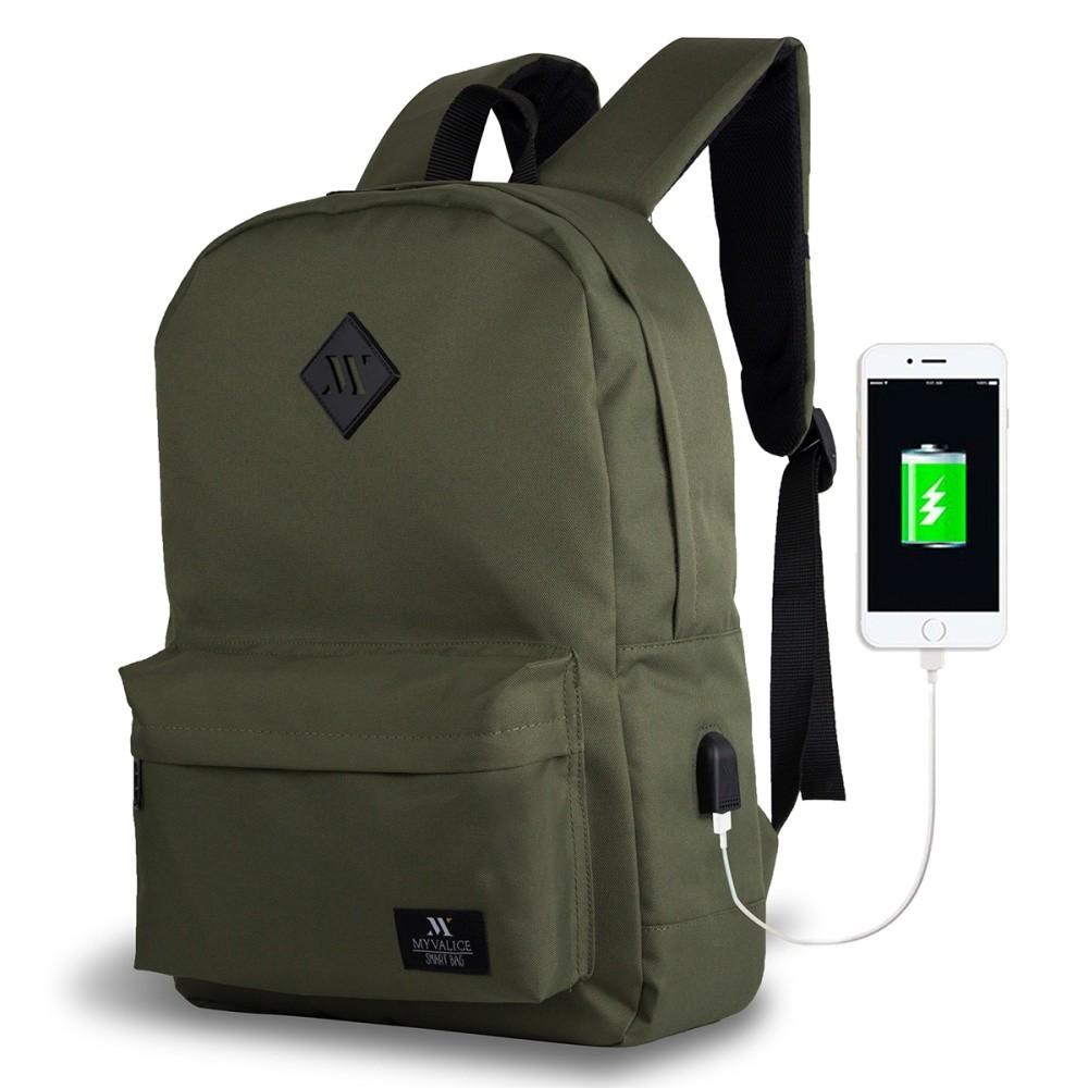Tmavozelený batoh s USB portom My Valice SPECTA Smart Bag