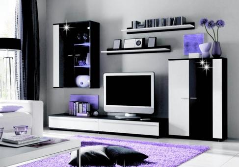 Moderná obývacia stena CANNES, biela/čierny lesk