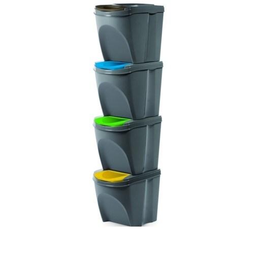 Kôš na triedený odpad Sortibox 20 l, 4 ks, sivá IKWB20S4 405U