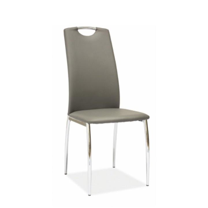 Stolička, ekokoža sivá/chróm, ERVINA