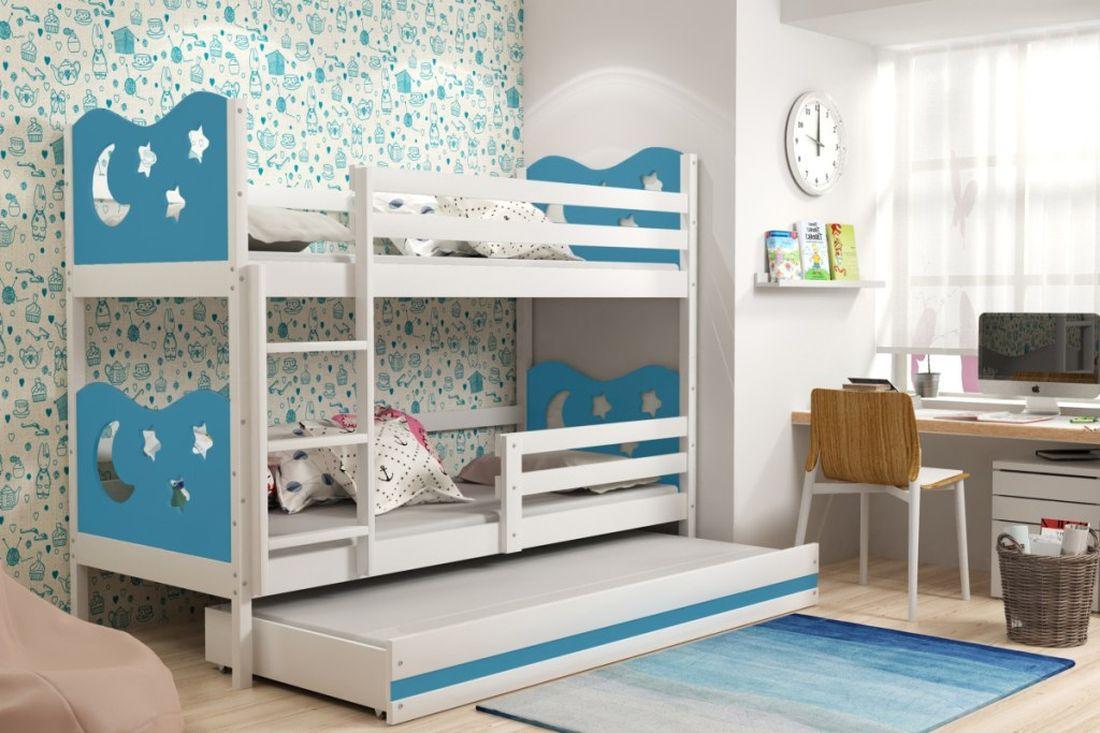 Poschodová posteľ KAMIL 3 + matrac + rošt ZADARMO, 90x200, biela/blankytná