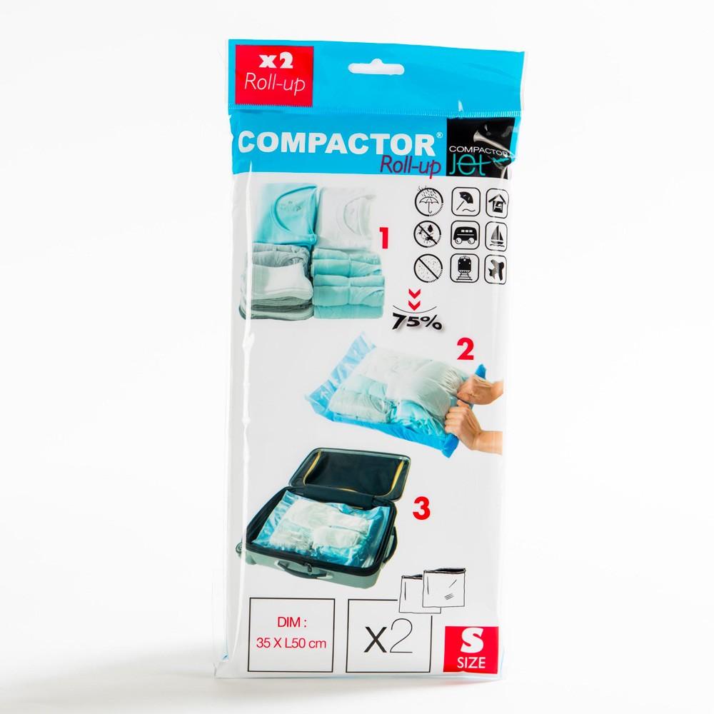 Sada 2 modrých vákuových obalov na oblečenie Compactor, 50×35 cm