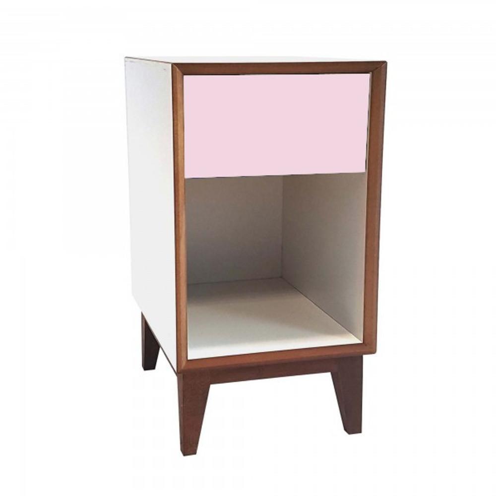 Veľký nočný stolík s bielym rámom a ružovou zásuvkou Ragaba PIX