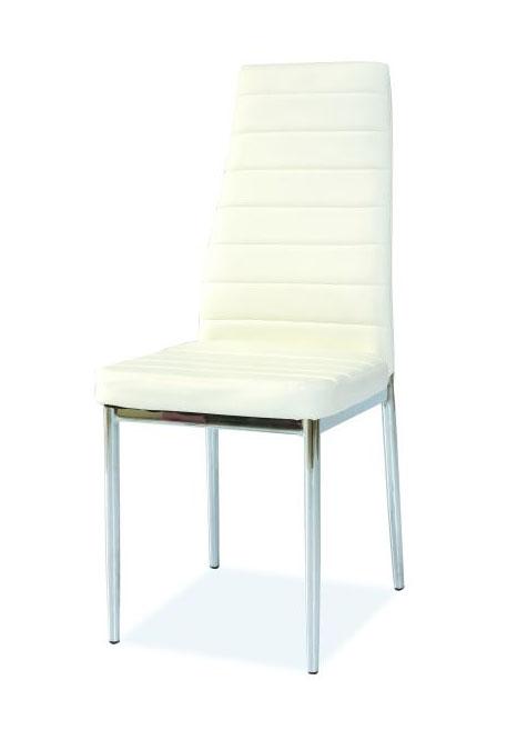 Jedálenská stolička VERME, biely/chróm