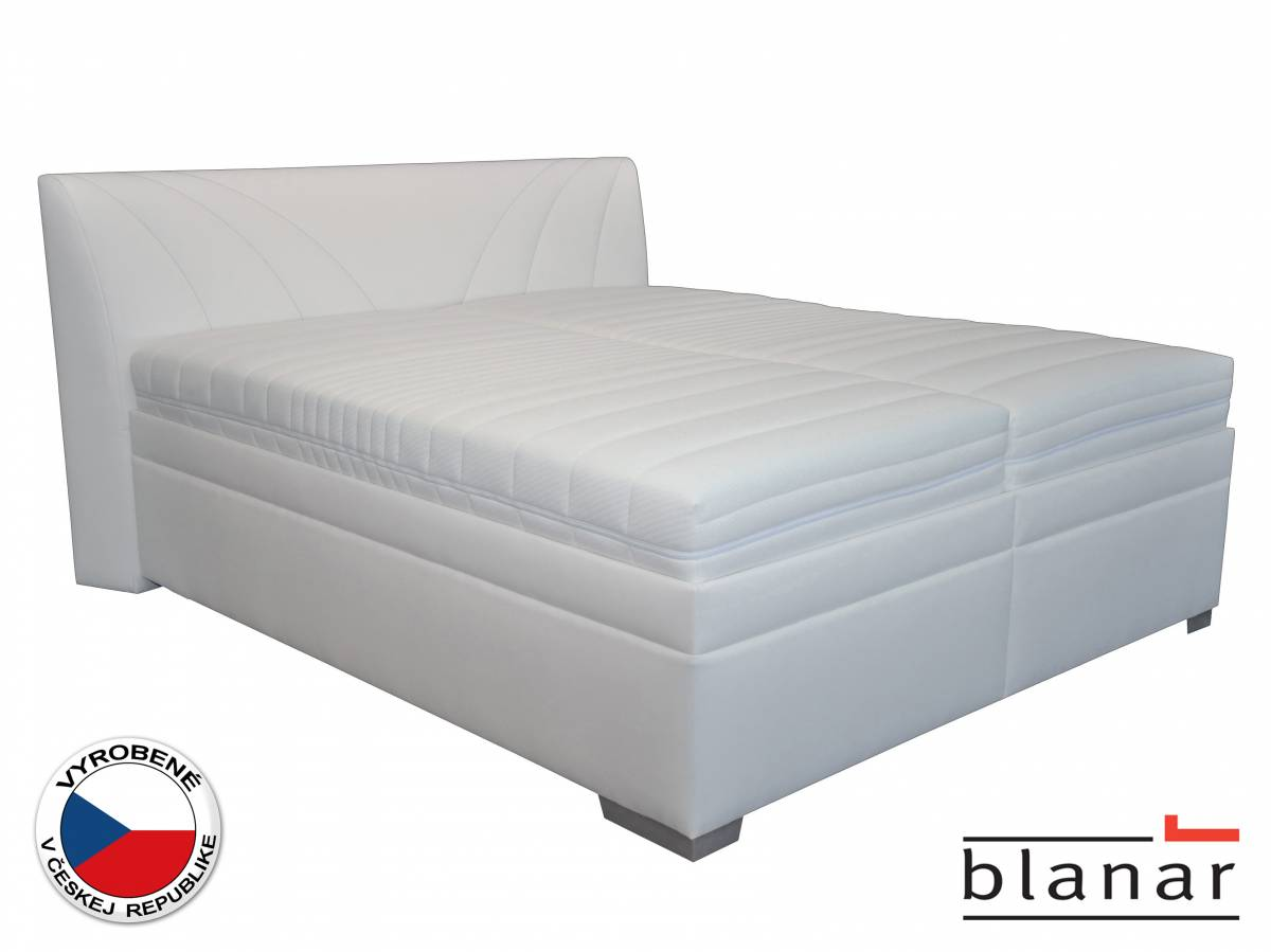Manželská posteľ 180 cm Blanár Velvet (s roštom a matracmi) (biela)