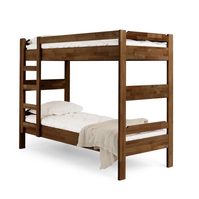Hnedo morená poschodová posteľ z masívneho brezového dreva Kiteen Kuusamo, 80 x 200 cm