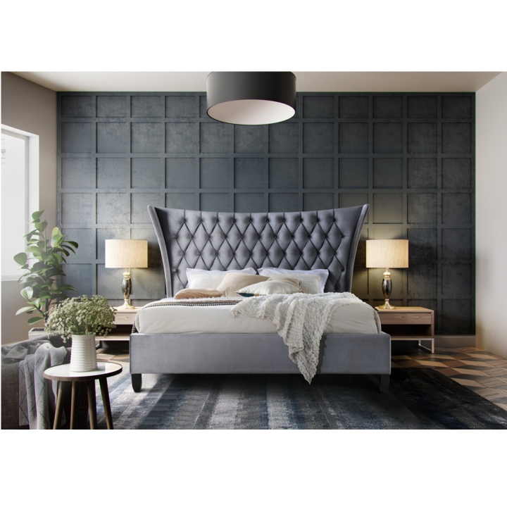 TEMPO KONDELA Manželská posteľ, sivá/wenge, 160x200, ALESIA