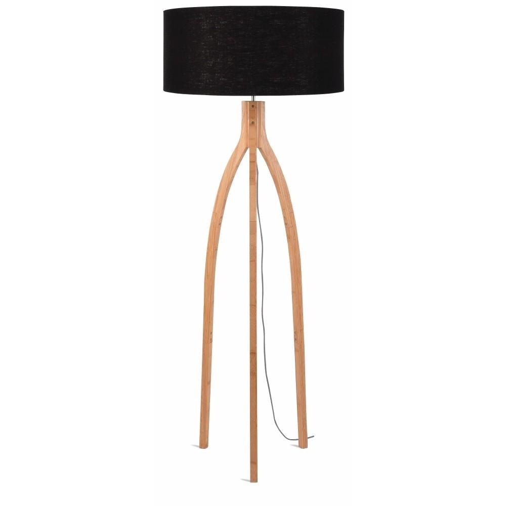 Stojacia lampa s čiernym tienidlom a konštrukciou z bambusu Good&Mojo Annapurna