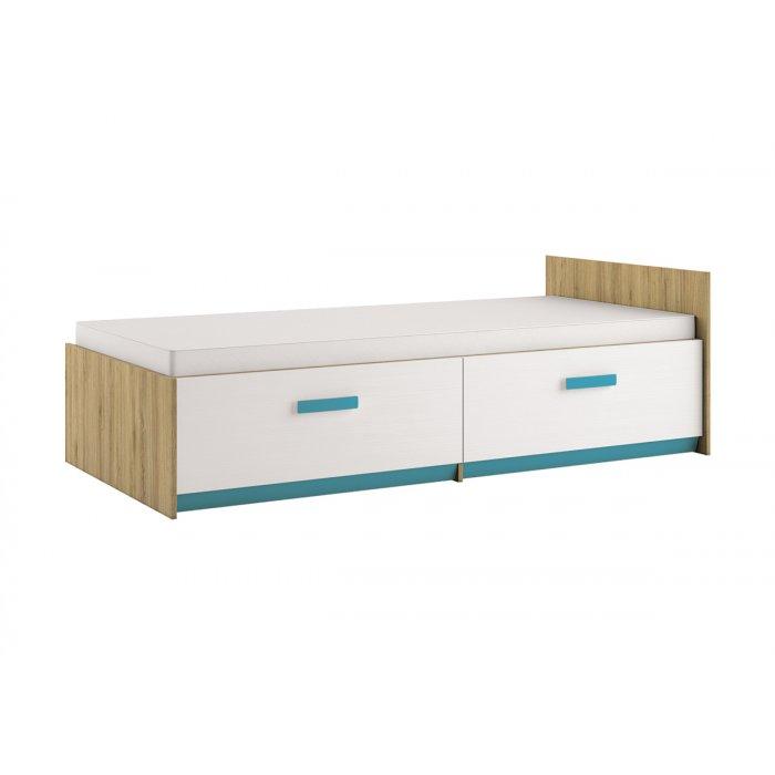 ML MEBLE BEST 17 90 posteľ - dub divoký / biela linea / atlantic