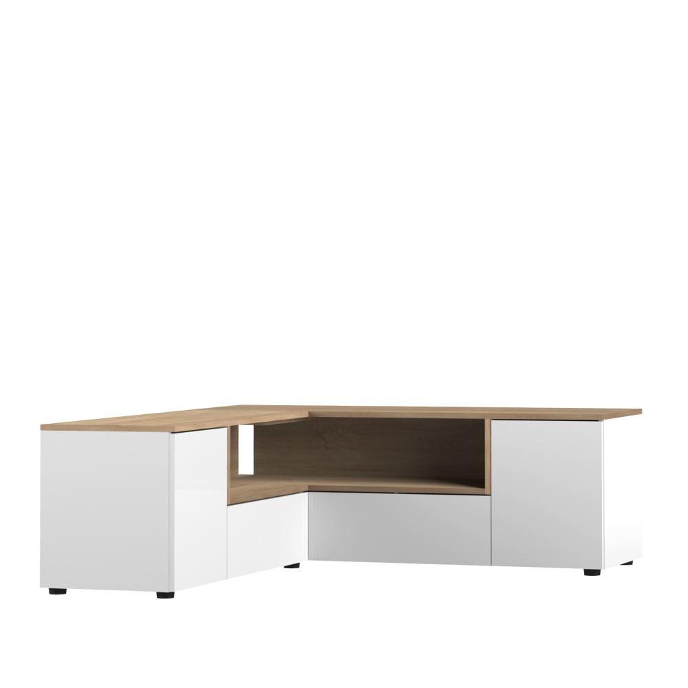 Biely TV stolík s detailmi v dekore dubového dreva Symbiosis Angle