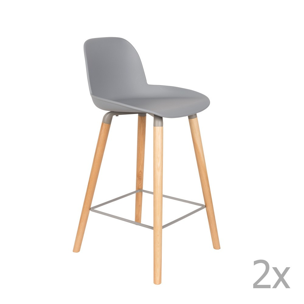 Sada 2 svetlosivých barových stoličiek Zuiver Albert Kuip, výška sedu 65 cm