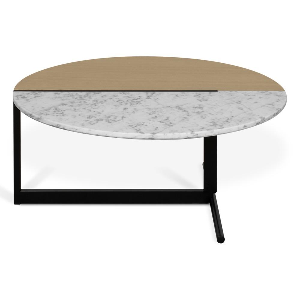 Konferenčný stolík s doskou v dekore duba a bieleho mramoru TemaHome Mezzo