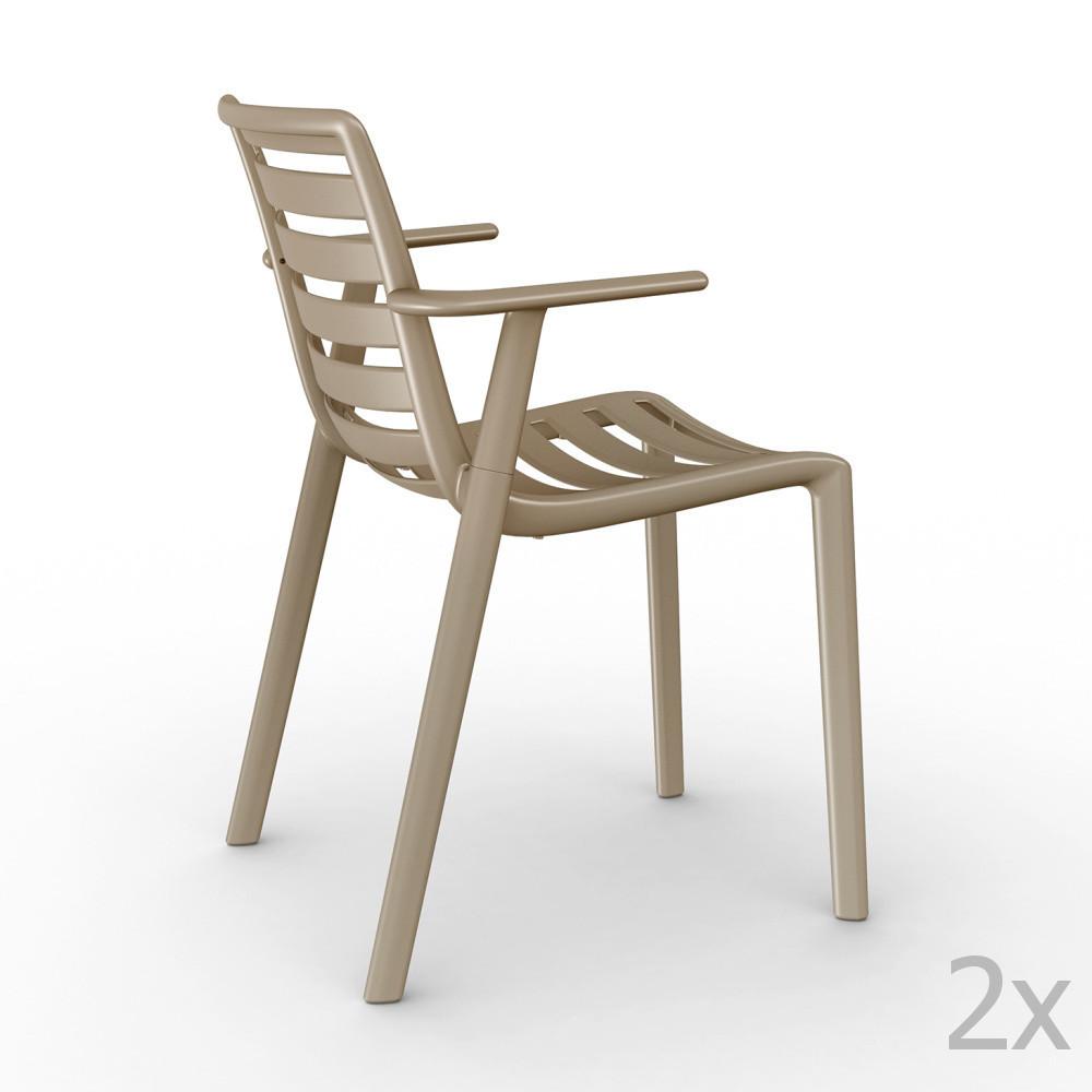 Sada 2 béžových záhradných stoličiek sopierkami Resol Slatkat