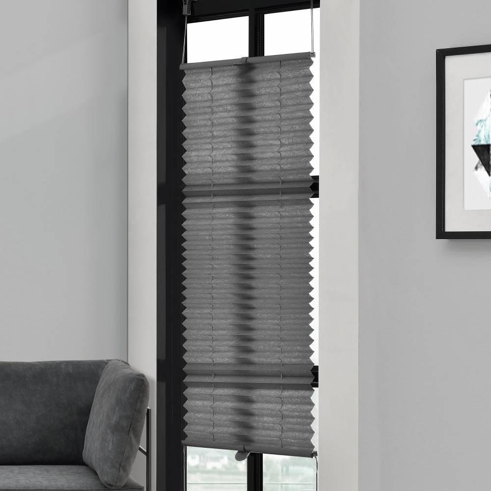 [Neu.haus] Rolety vzor harmonika - 60 x 200 cm - sivá - žalúzie - bez vŕtania, ochrana pred slnkom