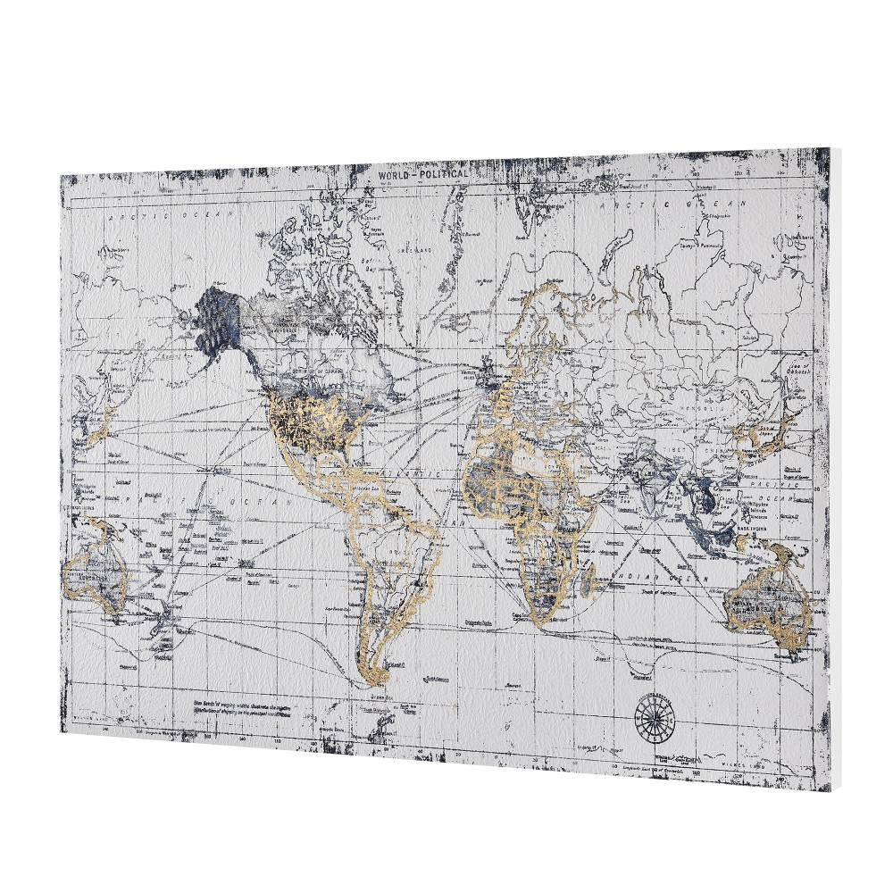 [art.work] Dizajnový obraz na stenu - tlač na pergamenový papier - mapa sveta - napnutý na ráme - 60x90x3,8 cm