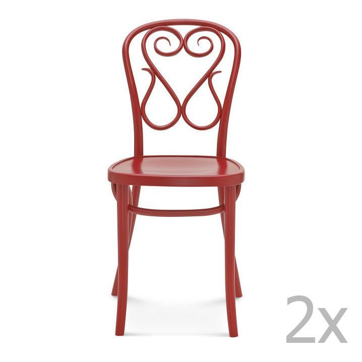 Sada 2 červených drevených stoličiek Fameg Jesper
