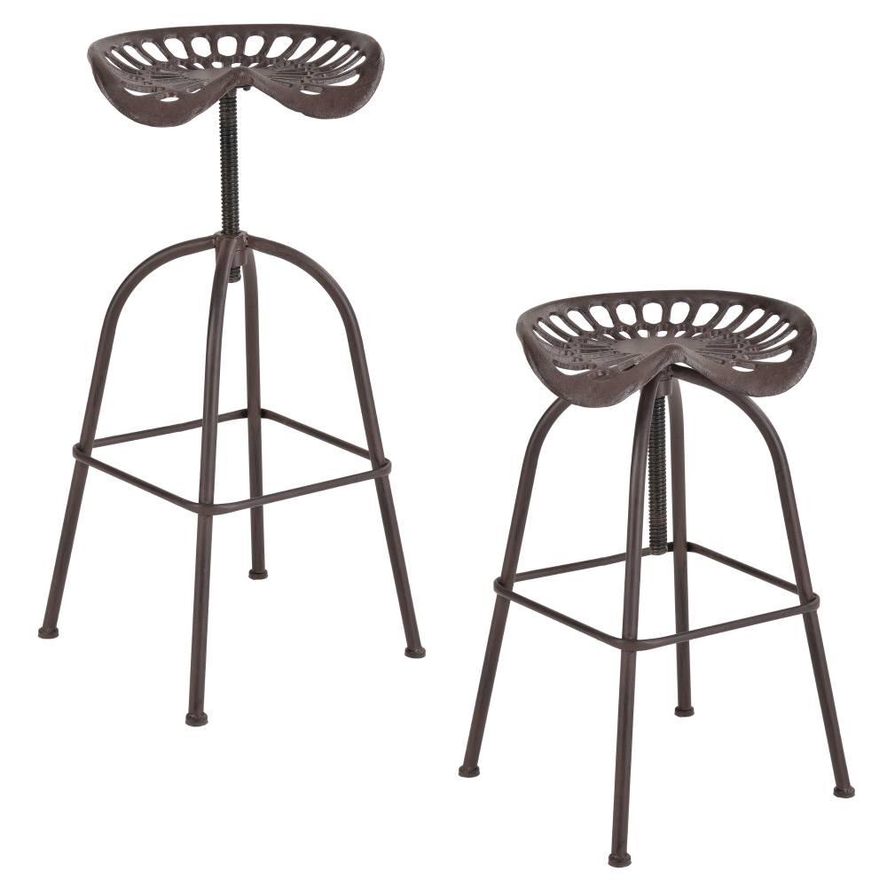 [en.casa]® Sada 2 barových stoličiek - 72 x 42 x 36 cm - hnedá patina