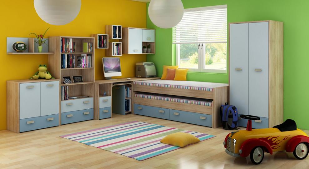 Detská izba KITTY 1   Farba: Dub sonoma svetlá / blankytná / modrá
