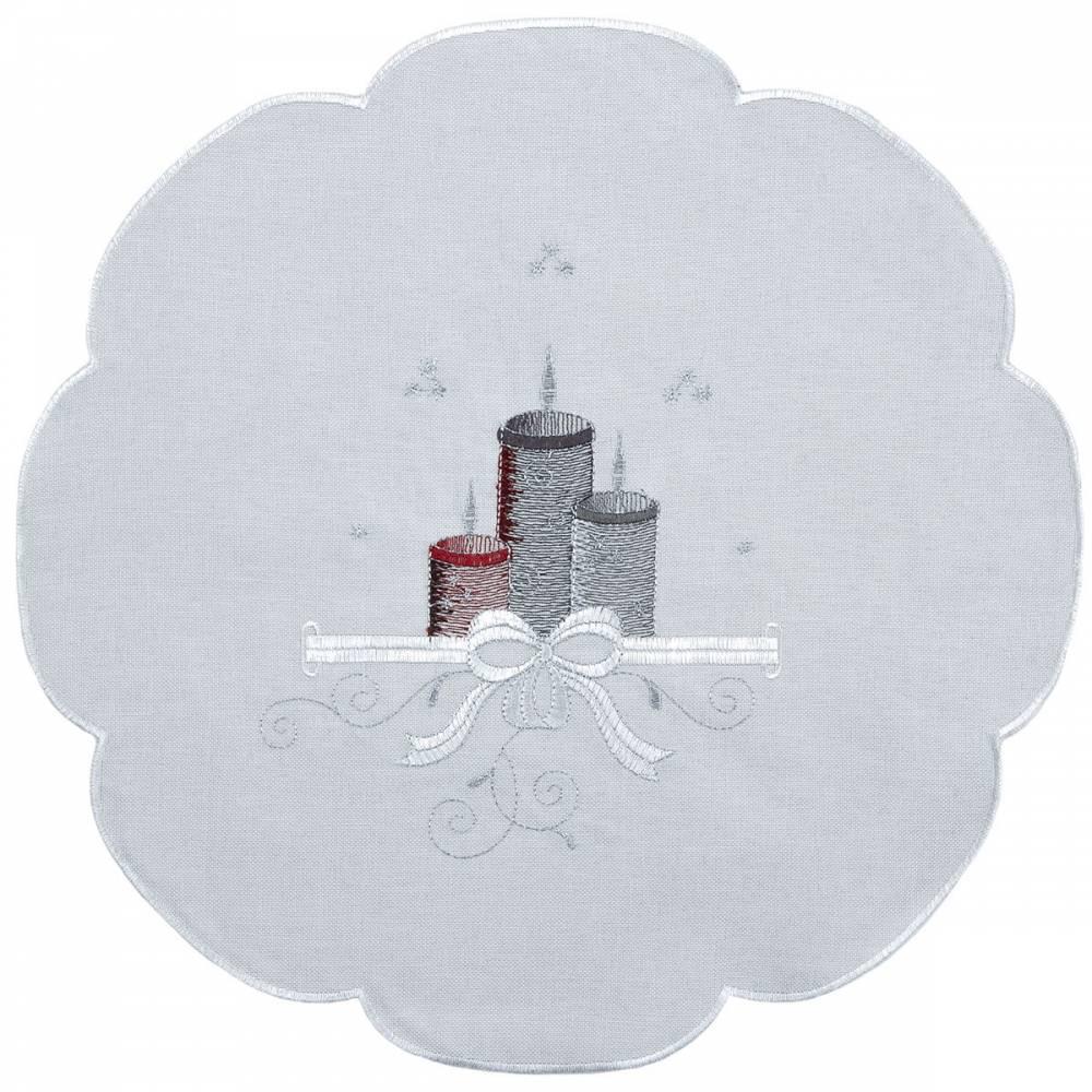 Forbyt Vianočný obrus Sviečky farebná, pr. 35 cm