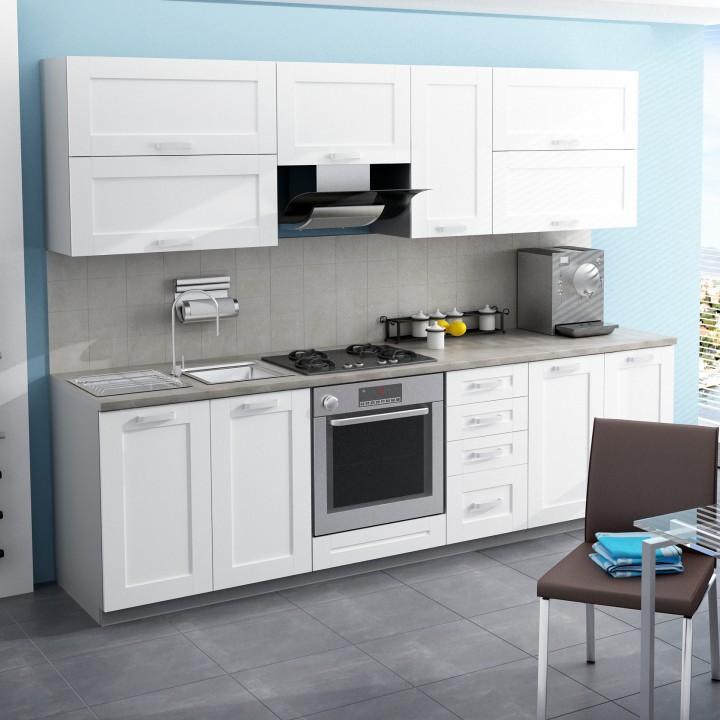 TEMPO KONDELA Moderná kuchynská zostava za fantastickú cenu do každej kuchyne v prevedení MDF biela/biely korpus - CLERA