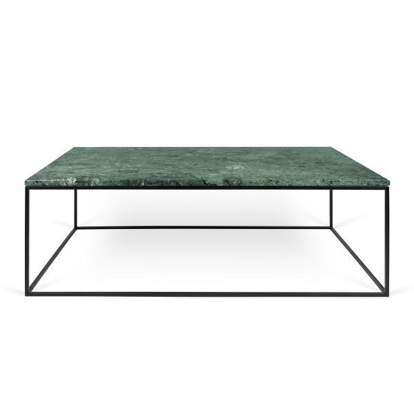 Zelený mramorový konferenčný stolík s čiernymi nohami TemaHome Gleam, 120cm