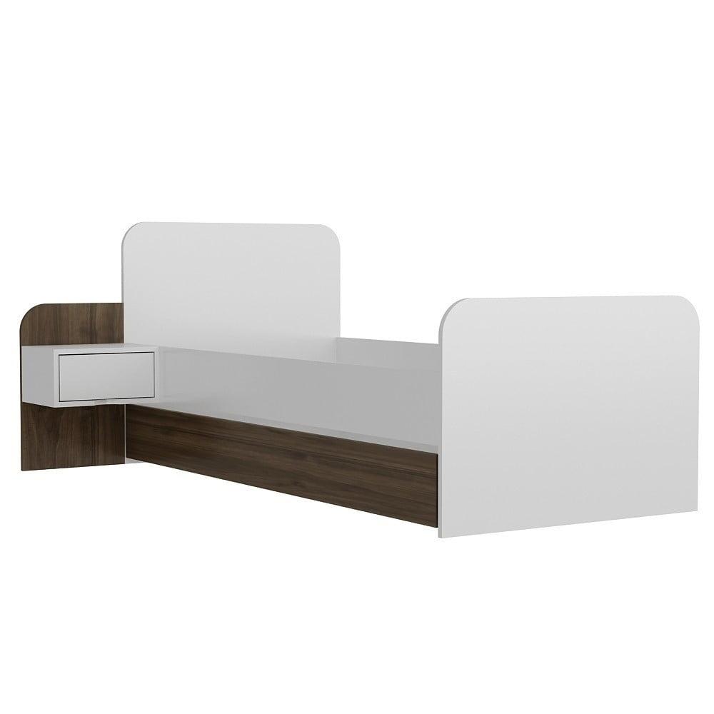 Jednolôžková posteľ Yayu Walnut White, 65×201 cm