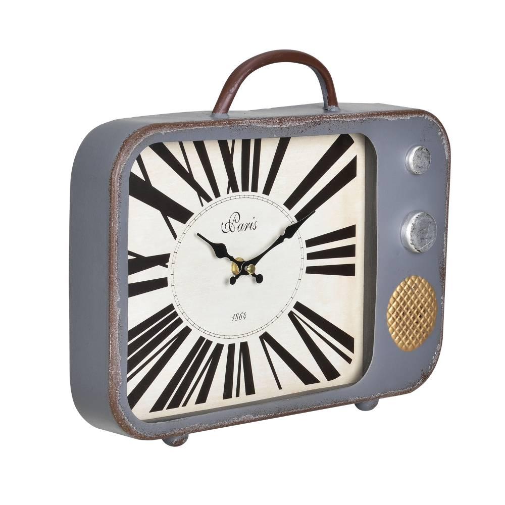 [en.casa]® Nástenné hodiny starý televízor - analógové - 33 x 5 x 27 cm - farebné – sklo