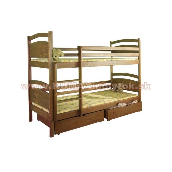 Poschodová masívna posteľ B406