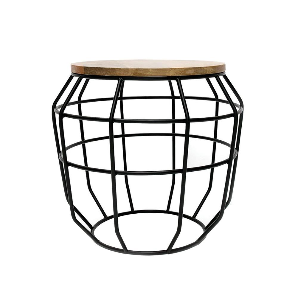 Čierny príručný stolík s doskou z mangového dreva LABEL51 Pixel, Ø 51 cm