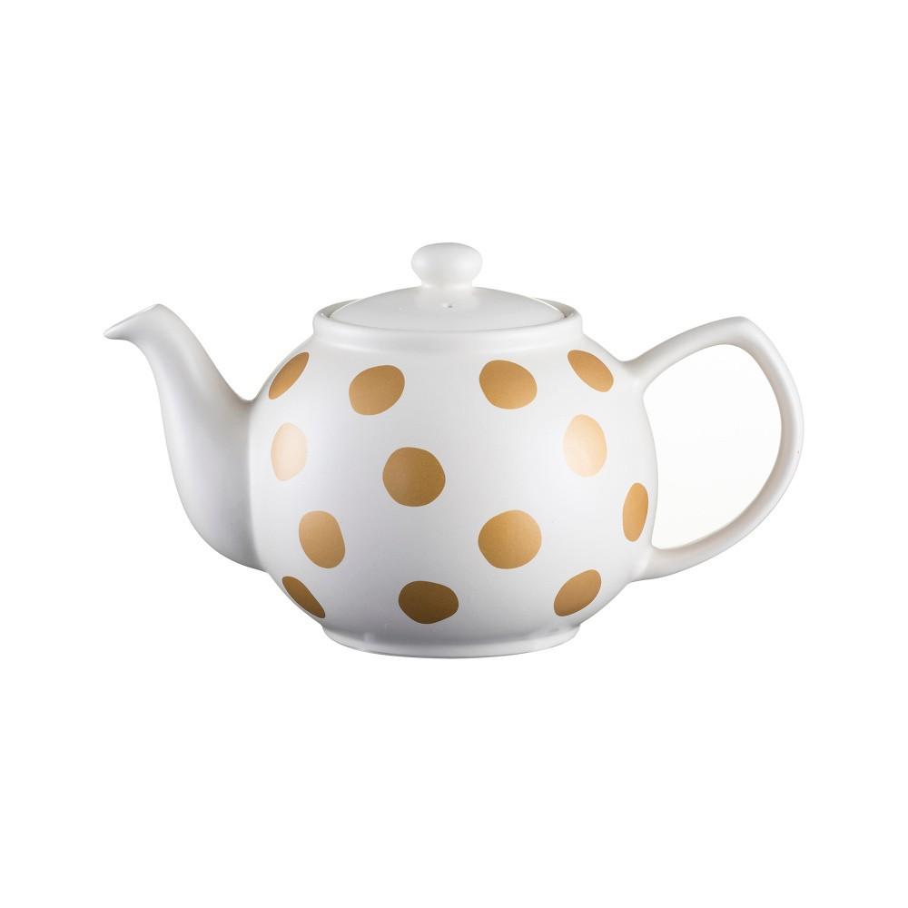 Krémová čajová kanvica s bodkami z kameniny Price&Kensington Gold Spot, 1,2 l