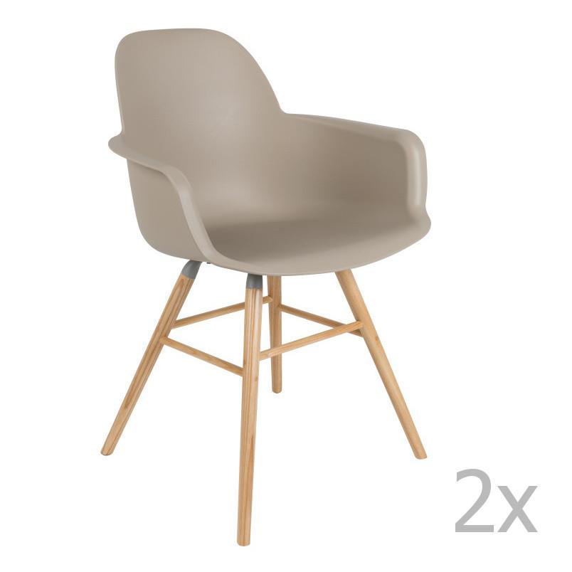 Sada 2 sivohnedých stoličiek s operadlom Zuiver Albert Kuip