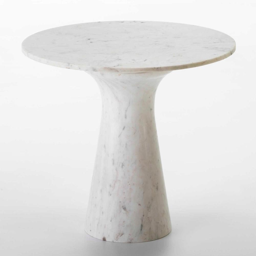 Biely mramorový konferenčný stolík Thai Natura, , ∅ 61 cm
