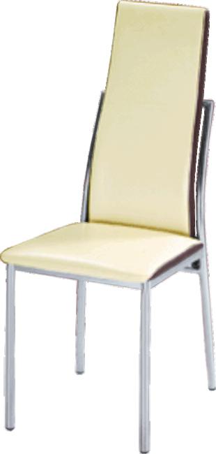 Jedálenská stolička, chróm/ekokoža béžová/hnedá, ZORA