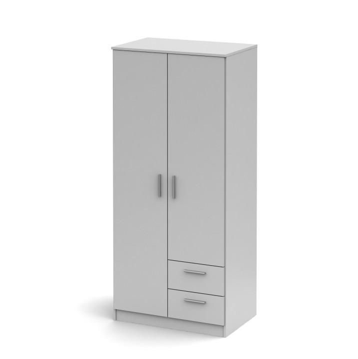 Skriňa dvojdverová s dvoma zásuvkami, biela, NOKO-SINGA 81
