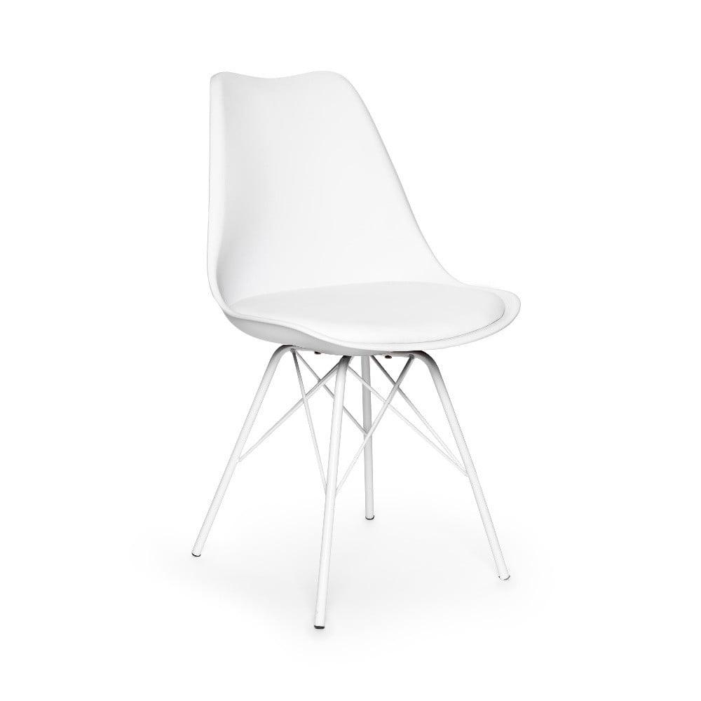 Biela stolička s bílým podnožím z kovu loomi.design Eco