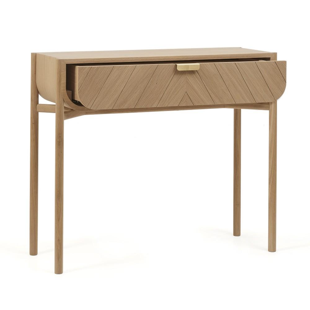 Konzolový stolík z dubového dreva so zásuvkou HARTÔ Marius