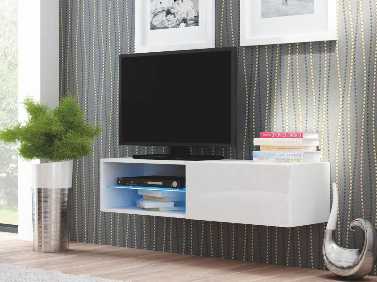 TV stolík/skrinka Livo RTV-120W (biela + lesk biely)