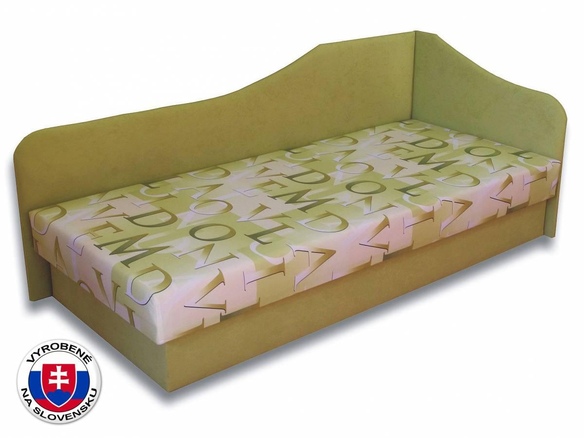 Jednolôžková posteľ (váľanda) 80 cm Lux 87 (Svetlozelená 72 + Muro 30) (P)