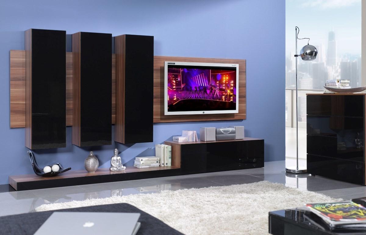 CAMA MEBLE LIFE obývacia stena - slivka / čierny lesk