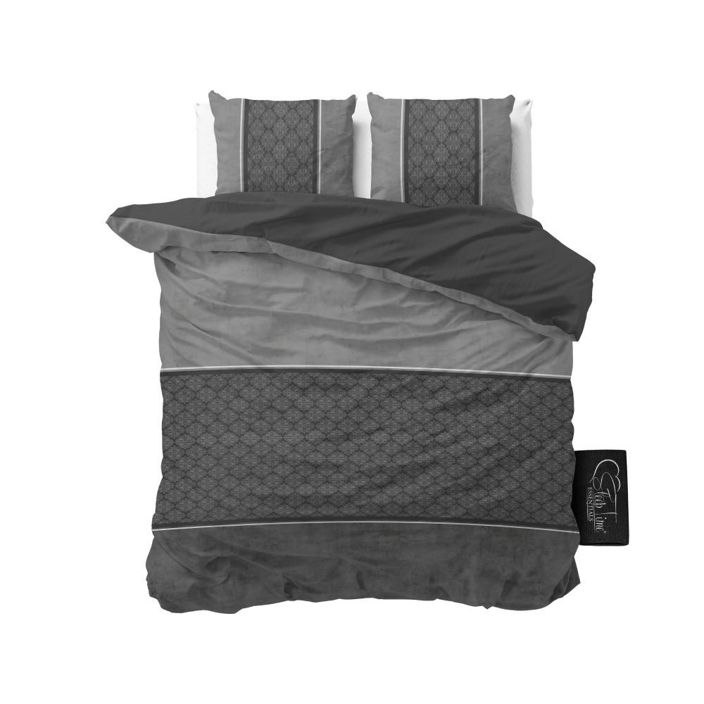 Antracitové obliečky z mikroperkálu Sleeptime Luxury Barock, 160 x 200 cm