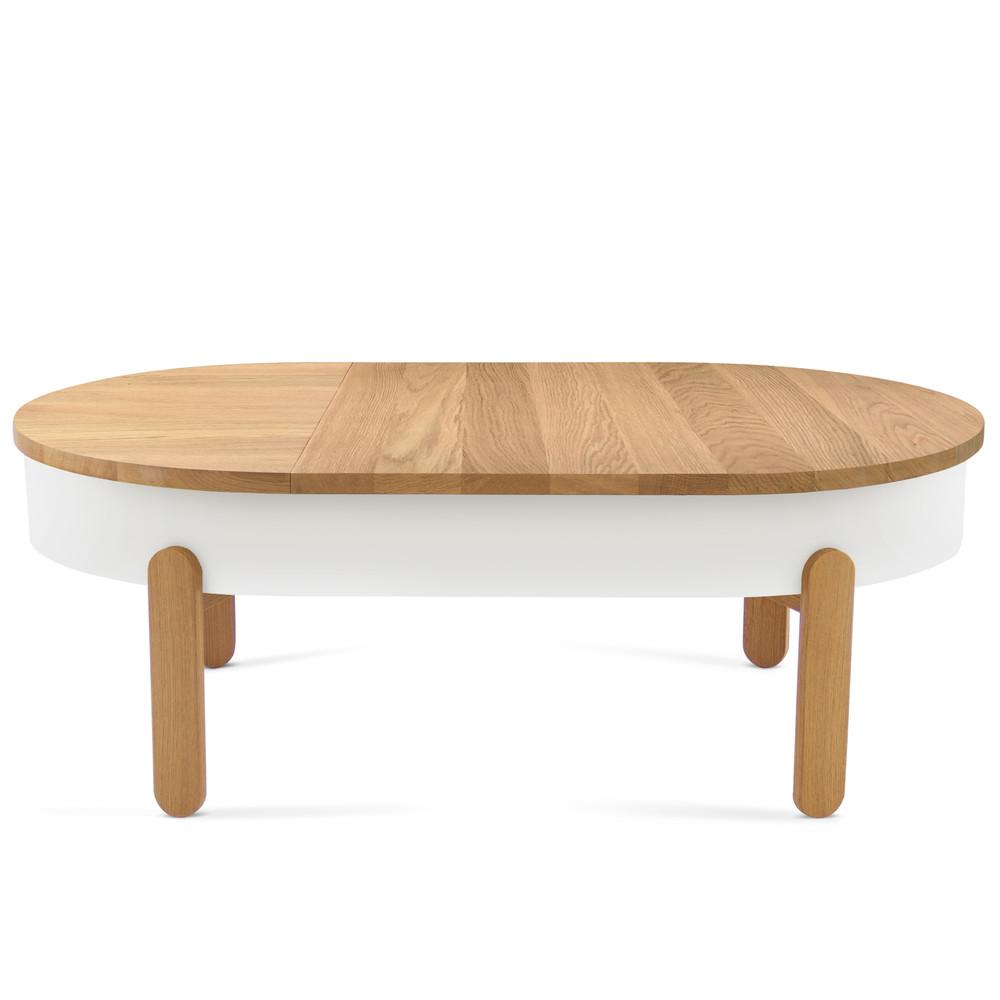 Prírodno-biely odkladací stolík s úložným priestorom Woodendot Batea L