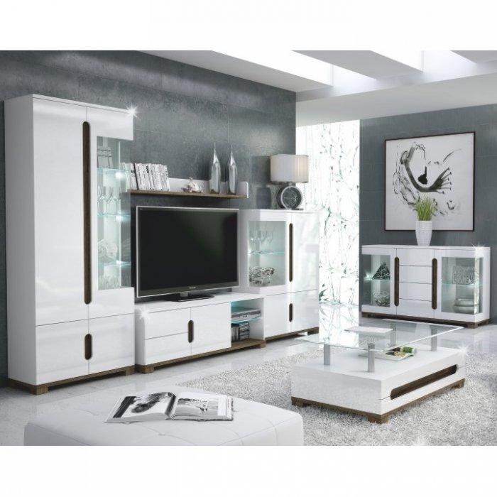TEMPO KONDELA LORIEN obývacia izba - san remo / biela / biely vysoký lesk