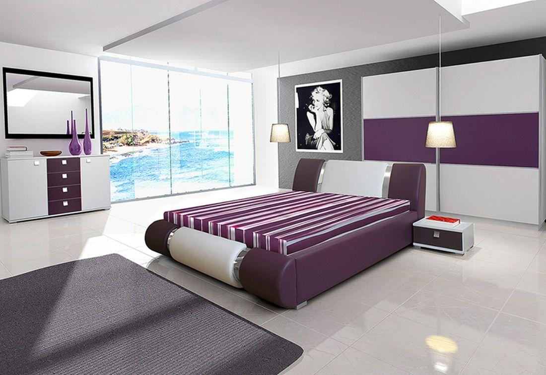 Ložnicová sestava AGARIO II (2x noční stolek, komoda, skříň 270, postel AGARIO II 180x200 + ÚP), bílá/fialová lesk